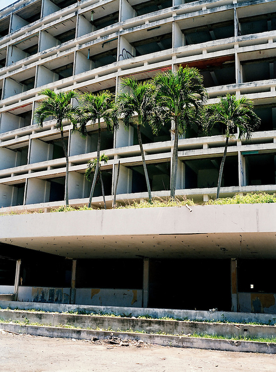 Palm trees grow from the entrance of an unfinished hotel.
