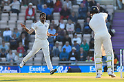 Jasprit Bumrah of India bowling the final over of the day to Keaton Jennings of England during day two of the fourth SpecSavers International Test Match 2018 match between England and India at the Ageas Bowl, Southampton, United Kingdom on 31 August 2018.