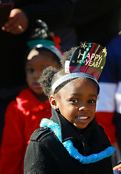 31 December 2014. New Orleans, Louisiana. <br /> A young child celebrating an early New year's Eve at the  'Zoo Year's Eve' celebration at Audubon Zoo.<br /> Photo; Charlie Varley/varleypix.com