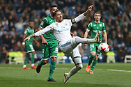 MADRID, SPAIN. January 24, 2018 - Sergio Ramos looking for the ball. Real Madrid pushed right to the end but were ultimately unable to get the better of Leganés, who scored twice, once in either half, to knock the Whites out of the Copa del Rey. . Photos by Antonio Pozo | PHOTO MEDIA EXPRESS
