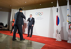 LAUSANNE, Jan. 20, 2018  International Olympic Committee (IOC) President Thomas Bach (R) shakes hands with Kim Il Guk (L), the president of the Olympic Committee of the Democratic People's Republic of Korea (DPRK) in Lausanne, Switzerland, on Jan. 20, 2018. (Credit Image: © Xu Jinquan/Xinhua via ZUMA Wire)