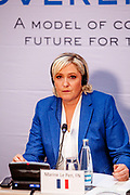 """Marie Le Pen speaking during the press conference of the European anti-migrant parties """"Europe of Nations and Freedom"""" (ENF) in Prague. Attending were Marie Le Pen from France, Geert Wilders from Holland and Tomio Okamura of the Freedom and Direct Democracy (SPD) movement from Czech Republic which was hosting the meeting. Prague, 16.12.2017"""