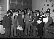 Bartenders Association of Ireland presenting certificates at lunch in Guinness Brewery...1983-02-21.21st February 1983.21/02/1983.02-21-83 ..Pictured at Guinness Brewery, St James's Gate, Dublin..Assembly of members who received certificates on successful completion of the BAI examination..Front row From Left to right:..First - Andy O'Gorman, College of Marketing.Fourth - Pat Healy, Sales Director, Guinness Sales Group.Fifth -Frank O'Reilly, President of Bartenders Association of Ireland.