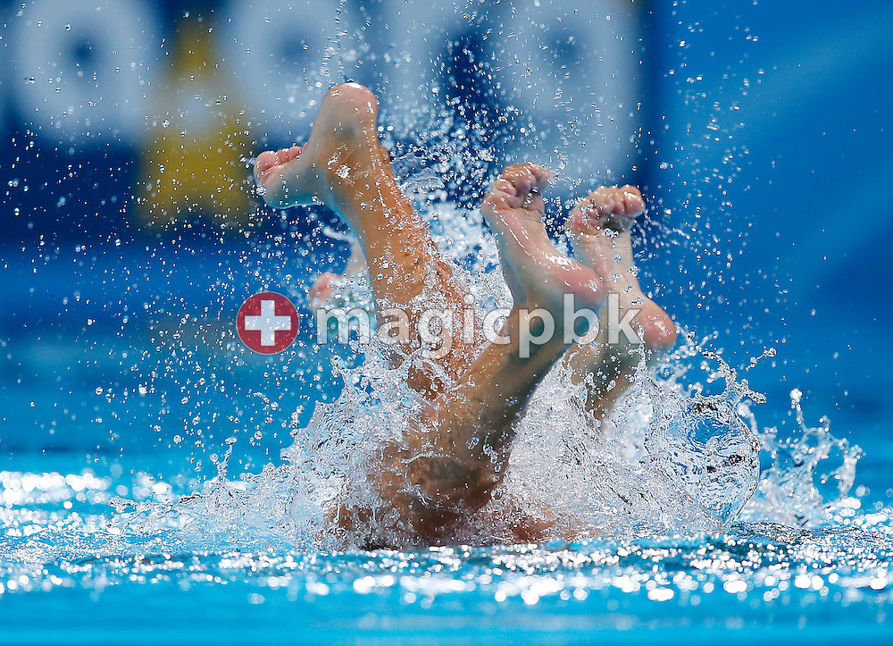Pamela FISCHER and Anja Nyffeler of Switzerland perform in the Synchronized (synchronised) Swimming Duet Free Preliminaries during the 15th FINA World Aquatics Championships at the Palau Sant Jordi in Barcelona, Spain, Tuesday, July 23, 2013. (Photo by Patrick B. Kraemer / MAGICPBK)