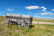 Old wooden wagon on the prairie<br /> Rosenhof<br /> Saskatchewan<br /> Canada