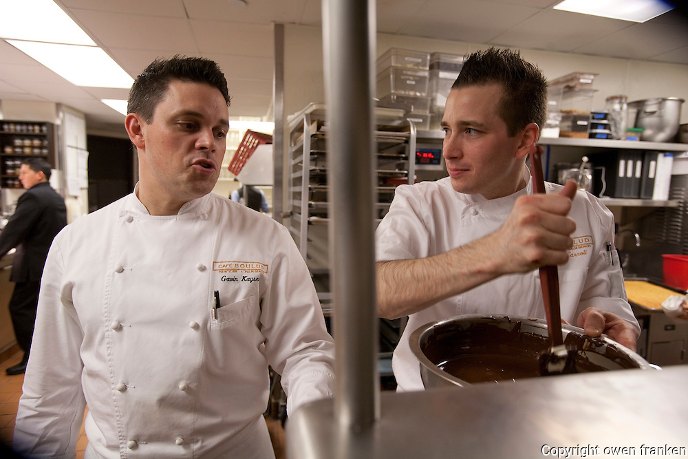 .the kitchen of Cafe Boulud, NYC..Pastrtu Chef Noah Carroll