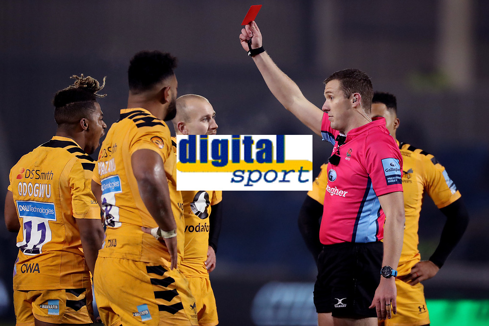 Rugby Union - 2019 / 2020 Gallagher Premiership - Sale Sharks vs. Wasps <br /> <br /> Paolo Odogwu of Wasps is shown a red card by referee Tom Foley, at AJ Bell Stadium,<br /> <br /> COLORSPORT/PAUL GREENWOOD