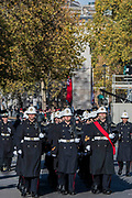 The Royal marines leave Whitehall - Remembrance Sunday and Armistice Day commemorations fall on the same day, remembering the fallen of all conflicts but particularly the centenary of the end of World War One.