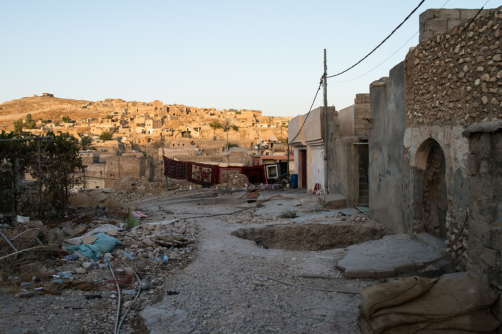 A street in Shingal City covered with blankets to prevent the view of ISIS snipers. Shingal (Sinjar), Iraq, August 26, 2015