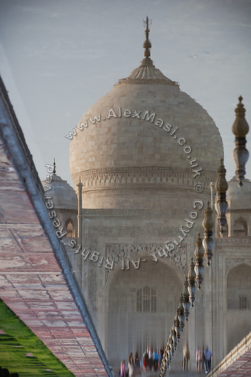 Visitors are about to enter the Taj Mahal, in Agra.