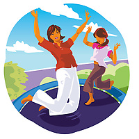 Mother and child on trampoline