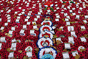 Wartime wreaths lie at the Cenotaph in London's Whitehall after Remembrance Sunday, on 12th November 2019, in London, England.