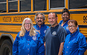 Houston ISD bus drivers pose for a photograph at the Northwest transportation center, June 8, 2015.