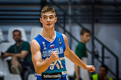 Samar Ziga of Slovenia during basketball match between National teams of Great Britain and Slovenia in the Quarter-Final of FIBA U18 European Championship 2019, on August 1, 2019 in Nea Ionia Hall, Volos, Greece. Photo by Vid Ponikvar / Sportida