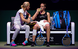 October 23, 2018 - Kallang, SINGAPORE - Karolina Pliskova of the Czech Republic listens to coach Rennae Stubbs during match at the 2018 WTA Finals tennis tournament (Credit Image: © AFP7 via ZUMA Wire)