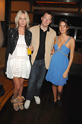 Left to right, the HON.SOPHIA HESKETH, The HON.NAT ROTHSCHILD and MARINA HANBURY at a party to celebrate the launch of Cavalli Selection - the first ever wine from Casa Cavalli, held at 17 Berkeley Street, London W1 on 29th May 2008.<br />