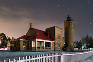Old Mackinac Lighthouse on a winter's night in Mackinaw City, Michigan