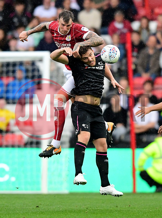 Aden Flint of Bristol City challenges for the ball with  Chris Martin of Derby County  - Mandatory by-line: Joe Meredith/JMP - 16/09/2017 - FOOTBALL - Ashton Gate Stadium - Bristol, England - Bristol City v Derby County - Sky Bet Championship