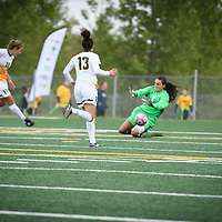 5th year midfielder Shayla Kapila (13) of the Regina Cougars during the Women's Soccer Homeopener on September 16 at U of R Field. Credit: Arthur Ward/Arthur Images