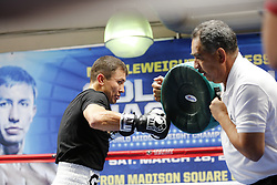 "SANTA MONICA, CA - FEBRUARY 28 WBA/IBF middleweight champion GENNADY ""GGG"" GOLOVKIN (36-0, 33 KO's) decided to do his usual, full fledged training session with his trainer Abel Sanchez, during the media workout at Wild Card West Boxing Gym in Santa Monica, California, USA. GGG will face DANIEL ""THE MIRACLE MAN"" JACOBS,(32-1, 29 KO's) Saturday March 18, 2017 at The Madison Square Garden in New York. The championship event will be produced and distributed live by HBO Pay-Per-View beginning at 9:00 p.m. ET/6:00 p.m. PT. ET/PT. 2017 February 28.  Byline, credit, TV usage, web usage or linkback must read SILVEXPHOTO.COM. Failure to byline correctly will incur double the agreed fee. Tel: +1 714 504 6870."