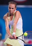 Magdalena Rybarikova (SVK)<br /> 2010 Australian Open Tennis<br /> Womens Singles<br /> First Round<br /> 18/01/10<br /> Magdalena Rybarikova of Slovakia hits a backhand return<br /> &quot;Hisense Arena&quot; Melbourne Park, Melbourne, Victoria, Australia<br /> Photo By Lucas Wroe