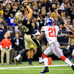 Nov 1, 2015; New Orleans, LA, USA; New Orleans Saints wide receiver Willie Snead (83) catches a touchdown over New York Giants free safety Landon Collins (21) during the first quarter of a game at the Mercedes-Benz Superdome. Mandatory Credit: Derick E. Hingle-USA TODAY Sports