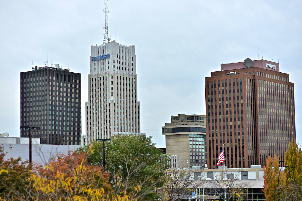 Exterior view of the FirstMerit and FirstEnergy buildings in downtown Akron.