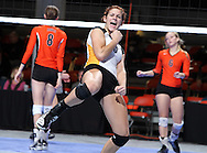 Waverly-Shell Rock's Kinsey Caldwell (9) celebrates a score during the fourth game of a 3A semifinal in the state volleyball tournament at the U.S. Cellular Center at 370 1st Ave E on Friday afternoon, November 12, 2010. (Stephen Mally/Freelance)