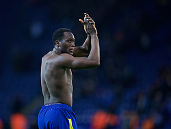 LEICESTER, ENGLAND - Boxing Day Monday, December 26, 2016: Everton's goalscorer Romelu Lukaku applauds the supporters after giving his shirt away as he celebrates after the 2-0 victory over Leicester City during the FA Premier League match at Filbert Way. (Pic by David Rawcliffe/Propaganda)