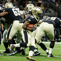 Aug 31, 2017; New Orleans, LA, USA; New Orleans Saints running back Travaris Cadet (38) runs against the Baltimore Ravens during the first half of a preseason game at the Mercedes-Benz Superdome. Mandatory Credit: Derick E. Hingle-USA TODAY Sports
