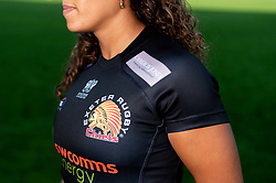 Featured Cameron Jones Financial Management ; Garnet MacKinder models the new Exeter Chiefs Women's shirt with their new sponsors on ahead of their 2020/21 Season - Mandatory by-line: Ryan Hiscott/JMP - 17/09/2020 - RUGBY - Sandy Park - Exeter, England - Exeter Chiefs Women - Shirt Sponsors Evening
