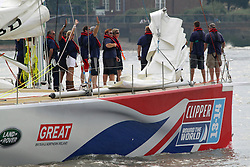 © Licensed to London News Pictures. 23/08/2013. GB team's Clipper Race vessel passing Greenwich en route to St Catherine's Dock in preparation for the start of the round the world Clipper Race credit : Rob Powell/LNP