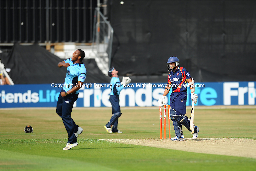 """Chris Smith declared out after caught out by Ben Brown during the Friends Life T20 between Essex """"Eagles"""" v Sussex """"Sharks"""". at the Essex County Cricket Ground on the 14th July 2013. Credit: © Leigh Dawney Photography. Self Billing where applicable. Tel: 07812 790920"""