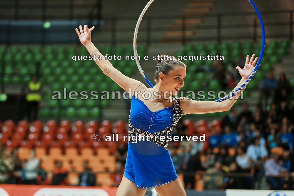 Sabrina Deiana atleta della società Auxilium di Genova durante la seconda prova del Campionato Italiano di Ginnastica Ritmica.<br /> La gara si è svolta a Desio il 31 ottobre 2015.