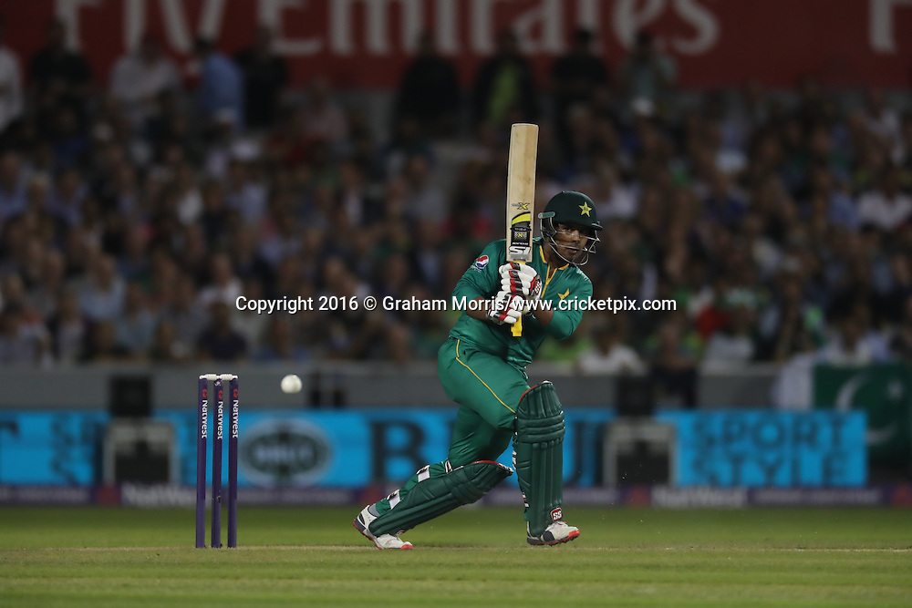 Sharjeel Khan of Pakistan in action batting.<br /> England v Pakistan, only T20 at Manchester, England. 7 September 2016.<br /> Pakistan won by 9 wickets (with 31 balls remaining).<br /> Copyright photo: Graham Morris / www.photosport.nz