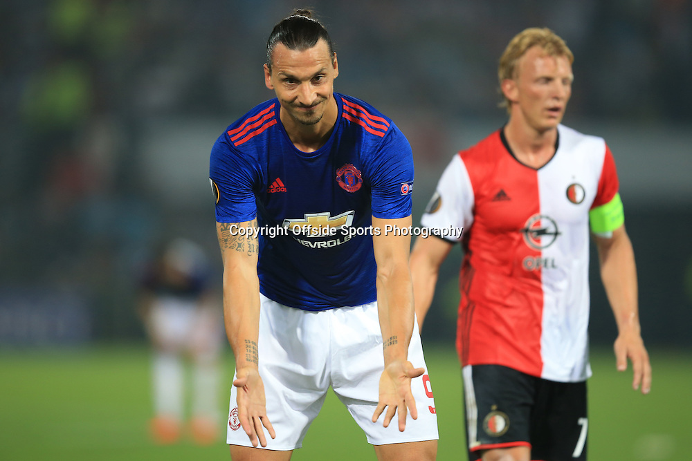 15 September 2016 - UEFA Europa League (Group A) - Feyenoord v Manchester United - Zlatan Ibrahimovic of Manchester United shows his frustration at a misplaced pass - Photo: Marc Atkins / Offside.