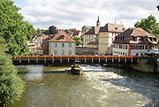 Bamberg, Bavaria, Germany wooden bridge over the Regnitz river