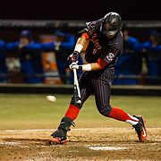 16 February 2018: San Diego State baseball opened up the season against UCSB at Tony Gwynn Stadium. San Diego State outfielder Julian Escobedo (1) drives in a run on a fielders choice in the bottom of the fifth inning giving the Aztecs an 8-1 lead. The Aztecs beat the Gauchos 9-1. <br /> More game action at sdsuaztecphotos.com