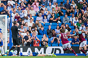 GOAL: Jeff Hendrick (Burnley) runs to celebrate his goal & equaliser in the 2nd half with Mathew Ryan (GK) (Brighton) and two Brighton players sprawled in the goal mouth during the Premier League match between Brighton and Hove Albion and Burnley at the American Express Community Stadium, Brighton and Hove, England on 14 September 2019.