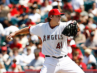 May 5, 2007:  as the Chicago White Sox played the Los Angeles Angels of Anaheim at Anaheim Stadium in Anaheim, CA.May 5, 2007: Starting pitcher #41 John Lackey threw 114 pitches, 75 strikes and had eight strike outs for a season high against the Chicago White Sox defeated the Los Angeles Angels of Anaheim 6-3 in regulation at Anaheim Stadium in Anaheim, CA..