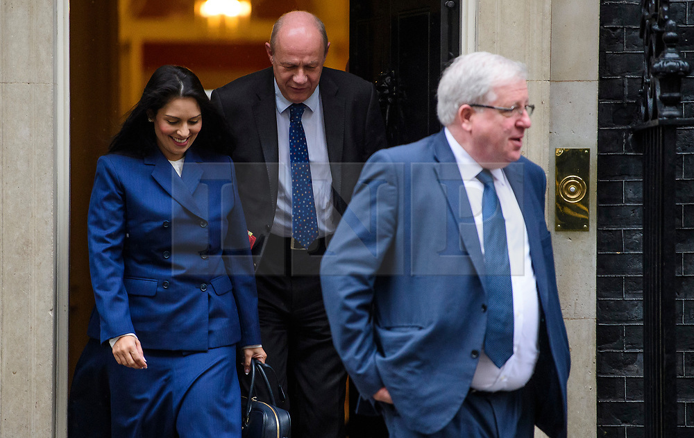 © Licensed to London News Pictures. 08/03/2017. London, UK. Secretary of State for International Development PRITI PATEL (L), Secretary of State for Work and Pensions DAMIAN GREEN (C) and PATRICK MCLOUGHLIN MP leave Downing Street following a cabinet meeting before British chancellor Philip Hammond delivers his 2017 Budget to Parliament. Photo credit: Ben Cawthra/LNP