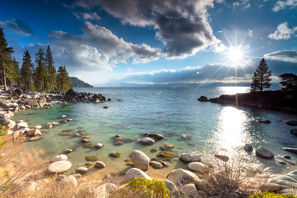 """Secret Cove, Lake Tahoe 4"" - Photograph taken just before sunset at Secret Cove on the east shore of Lake Tahoe, Nevada."