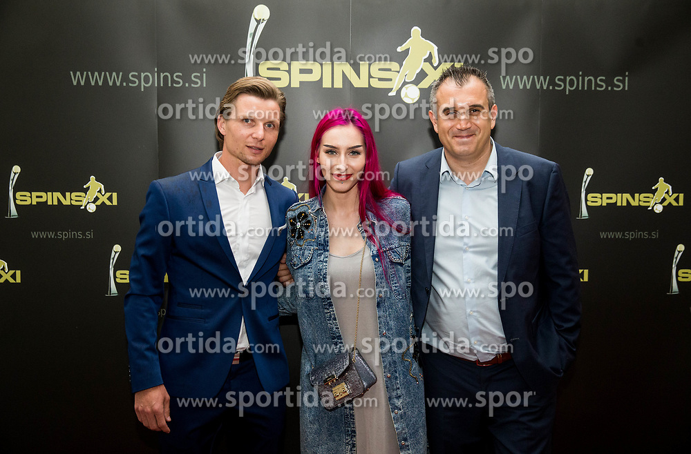 Dare Vrsic, Raiven - Sara Briški Cirman and Dejan Stefanovic during SPINS XI Nogometna Gala 2017 event when presented best football players of Prva liga Telekom Slovenije in season 2016/17, on May 23, 2017 in Grand hotel Union, Ljubljana, Slovenia. Photo by Vid Ponikvar / Sportida