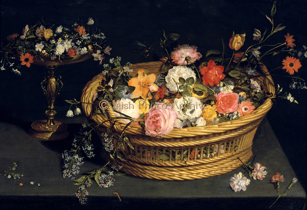 Still Life: Silver-gilt tazza and gilded basket of flowers. Oil on panel by Jan Brueghel the Younger (1601-1678) Flemish painter.