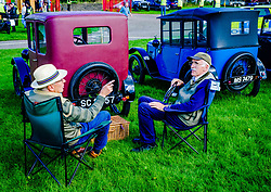 The 44th Biggar Vintage Vehicle Rally held in Biggar on 13th August 2017.  Time for a catch up with at the rally.<br /> <br /> (c) Andrew Wilson | Edinburgh Elite media