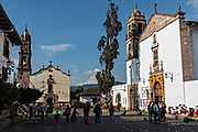 The Immaculate Conception Santa Clara and the Templo de Nuestra Señora del Sagrario churches decorated for the Day of the Dead festival in Santa Clara del Cobre, Michoacan, Mexico.