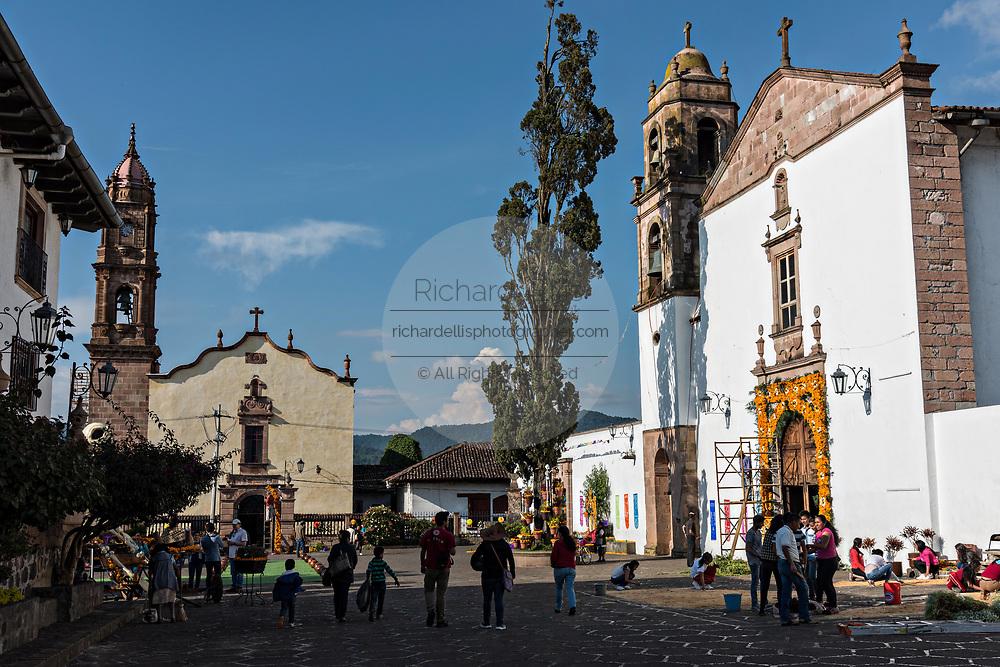 The Immaculate Conception Santa Clara and the Templo de Nuestra Señora del Sagrario churches decorated for the Day of the Dead festival in Santa Clara del Cobre, Michoacan, Mexico.