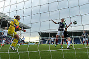 Margarita Yushko (#7) of Belarus clears the ball with a bicycle kick before Jane Ross (#13) of Scotland can try to divert the ball into the net during the FIFA Women's World Cup UEFA Qualifier match between Scotland Women and Belarus Women at Falkirk Stadium, Falkirk, Scotland on 7 June 2018. Picture by Craig Doyle.