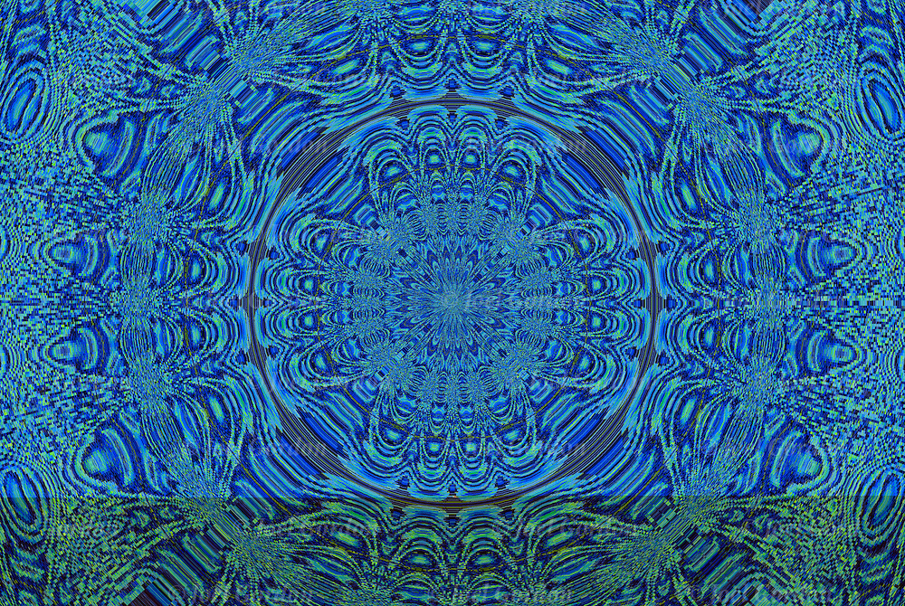 Close up of blue circle of  patterns of grains running against one another forming an abstract design.<br /> <br /> Photographic series of digital computer art, an illusion / fantasy generated from a non abstract image. <br /> <br /> Two, three or more layers or generations were used to enhance, alter,manipulate the image, creating an abstract surrealistic mirrored symmetry.