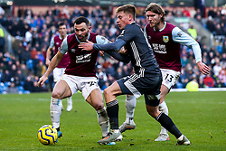 Harvey Barnes of Leicester City takes on Phillip Bardsley and Jeff Hendrick of Burnley - Mandatory by-line: Robbie Stephenson/JMP - 19/01/2020 - FOOTBALL - Turf Moor - Burnley, England - Burnley v Leicester City - Premier League